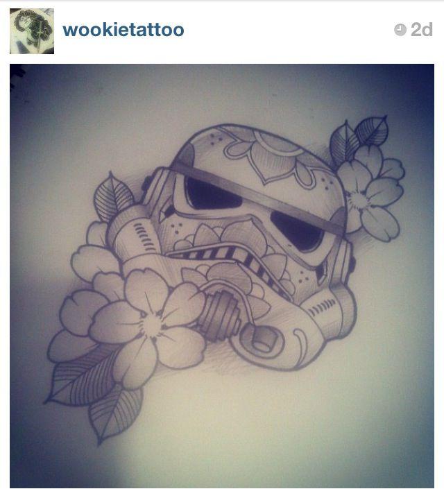 Storm trooper sugar skull tattoo by Tom Devine   Star Wars tattoo  UK tattoo artist  By Tom Devine - Instagram @wookietattoo - Facebook Tom Wookie Devine