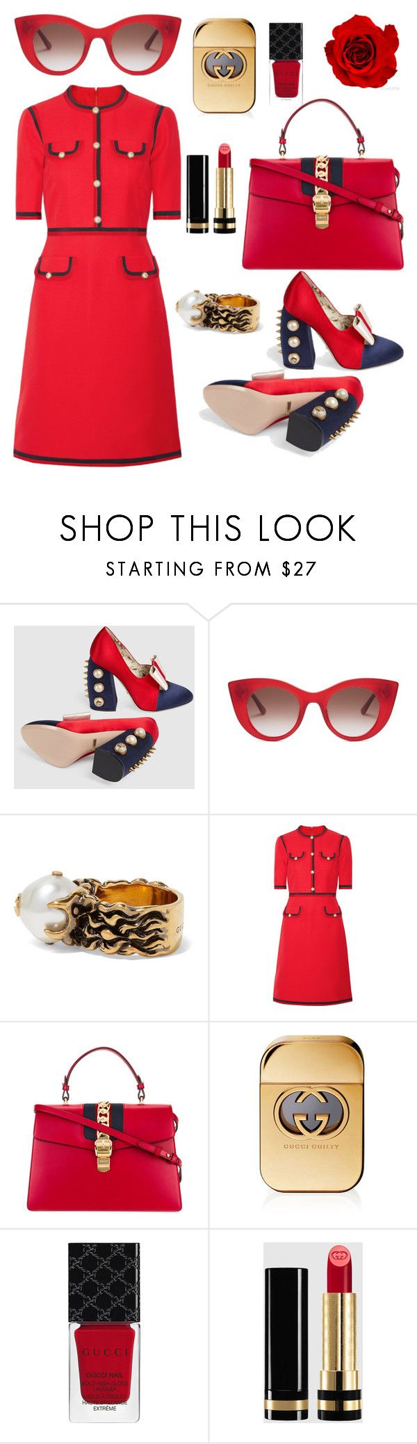 """""""Lady in red"""" by ana-maria-punga ❤ liked on Polyvore featuring Gucci and Thierry Lasry"""
