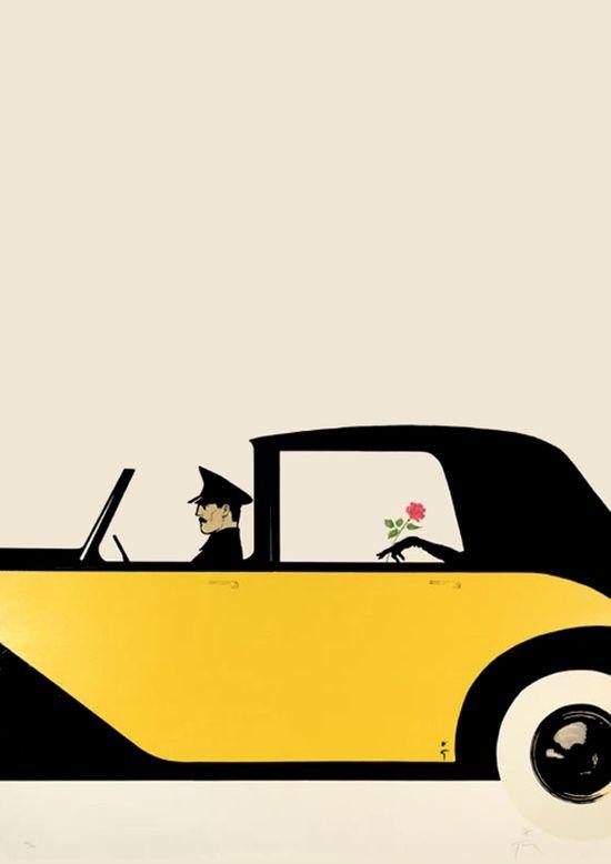 Illustration Vintage - Jaune et Noir - Gruau