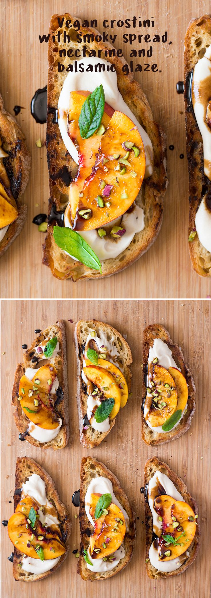 Vegan crostini with smoky white bean spread and nectarine