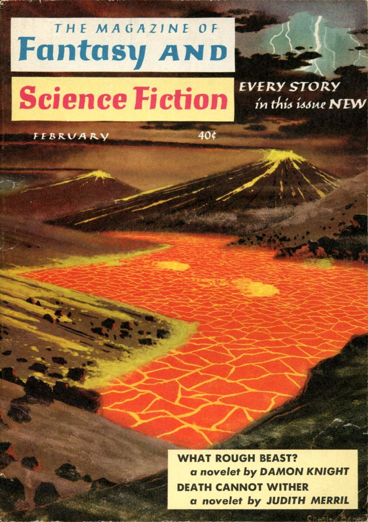 The Magazine of Fantasy and Science Fiction, February 1959. Cover by Chesley Bonestell.