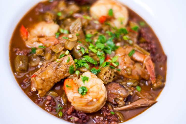 Shrimp and Duck Gumbo with Red Rice