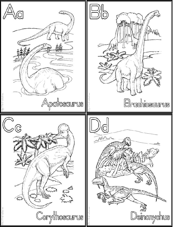 Dinosaur alphabet coloring flash cards  Link for whole set is here:  http://www.first-school.ws/theme/animals/cp_dinosarus_alphabet.htm#flashcards