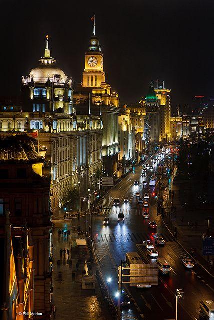 The Bund after dark - Shanghai by Phil Marion, via Flickr