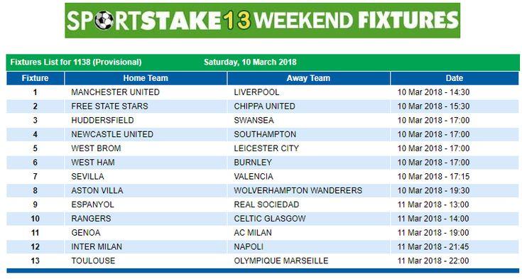 #SportStake13 Weekend Fixtures - 10 March 2018  https://www.playcasino.co.za/sportstake-weekend-fixtures.html