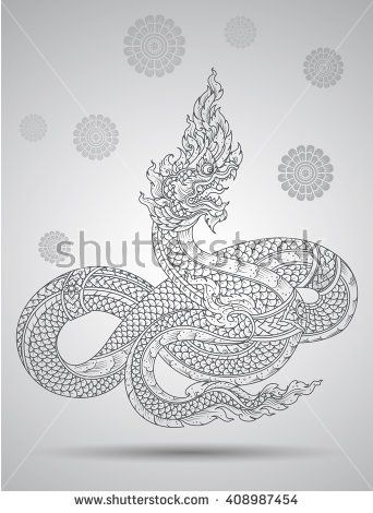 king snake outline thai tradition thai design vector illustration