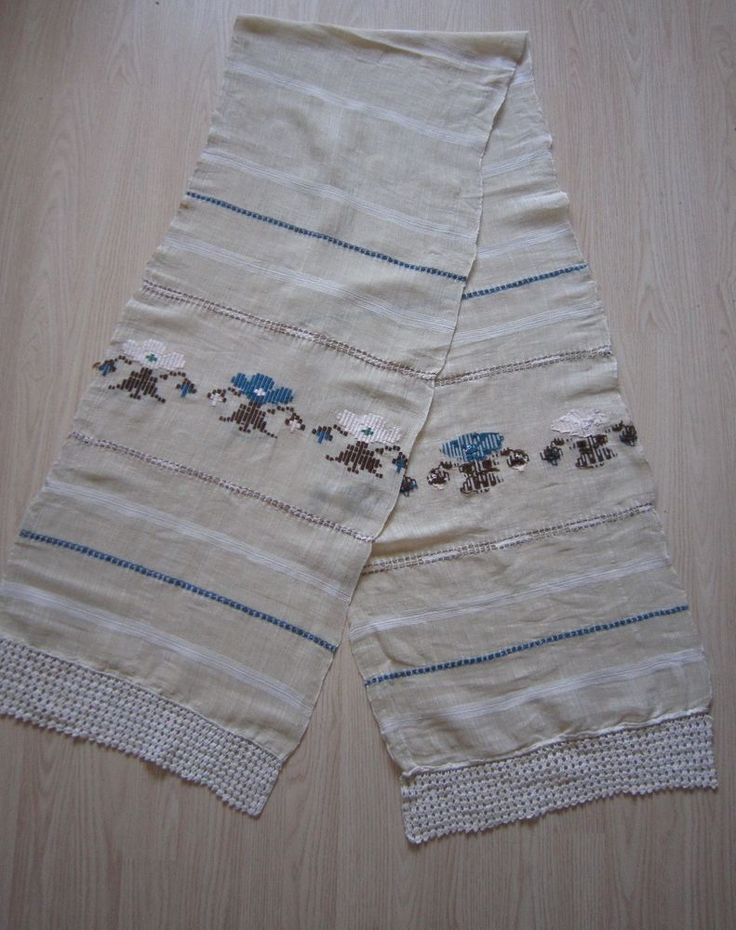 1900S Antique Woven Embroidered Towel Dressing Table Linen Lace Floral 90&17  #Handmade