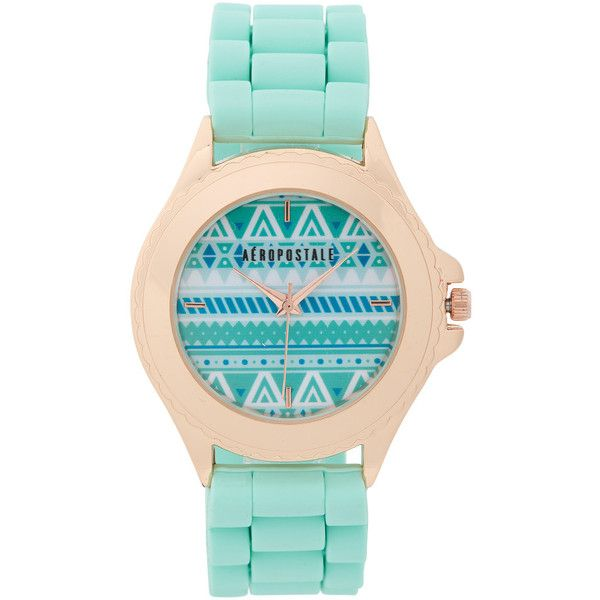 Aeropostale Accented Rubber Watch ($14) ❤ liked on Polyvore featuring jewelry, watches, mint sprig, rubber jewelry, aéropostale, mint green jewelry, rubber watches en aeropostale jewelry
