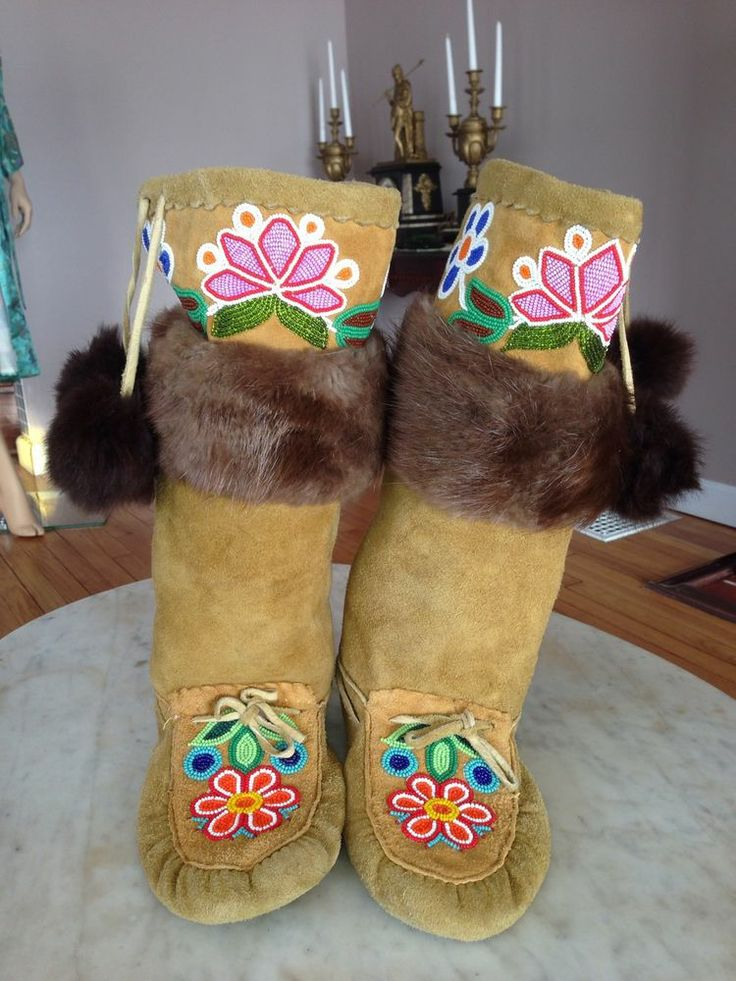 Northern Plains Indians mukluks moccasins boots hide fur glass beads Cree VTG