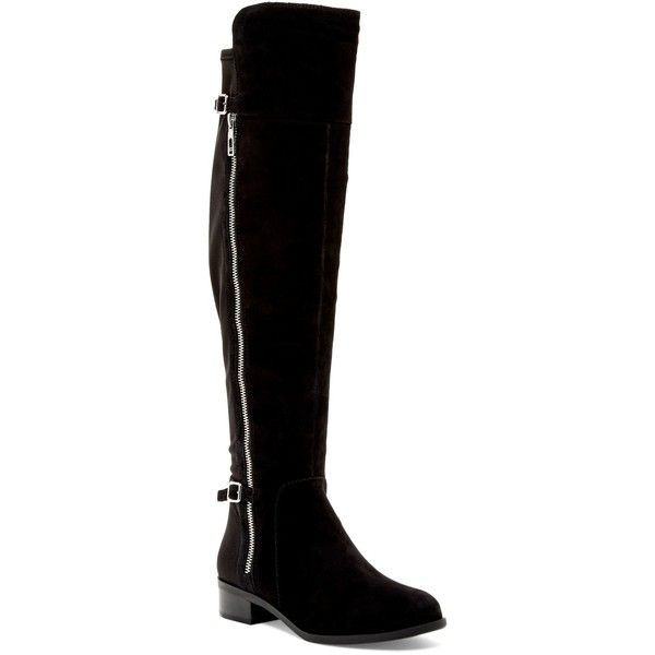 Ivanka Trump Oliss Over-the-Knee Boot ($90) ❤ liked on Polyvore featuring shoes, boots, shoes and boots, blmsu, over-the-knee boots, side zip boots, above the knee boots, synthetic leather boots, stretch thigh high boots and over the knee boots