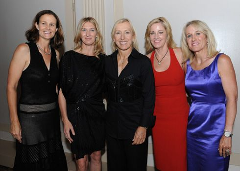 Hall of Fame tennis legends Pam Shriver, Stefie Graf, Martina Navratilova, Chris Evert & Tracy Austin