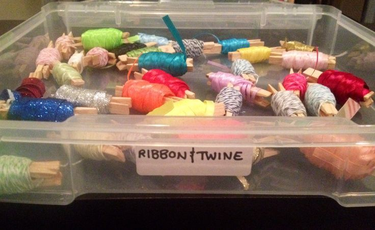 Michaels had a sale on scrapbook bins and I went a little crazy. They are perfect for storing my ribbon and twine!