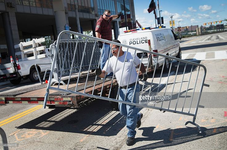 Workers help to prepare the Quicken Loans Arena for the Fox News GOP presidential candidate debate scheduled to take place tomorrow evening on August 5, 2015 in Cleveland, Ohio. The top ten polling Republican candidates were chosen to participate in the debate.