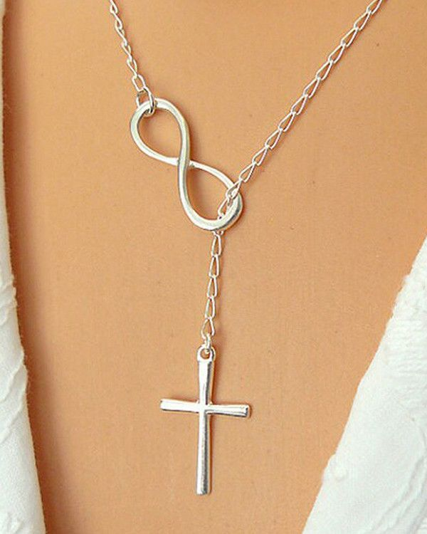 """Cross and Infinity Lariat Necklace. 18"""" chain. Sterling Silver overlay…"""