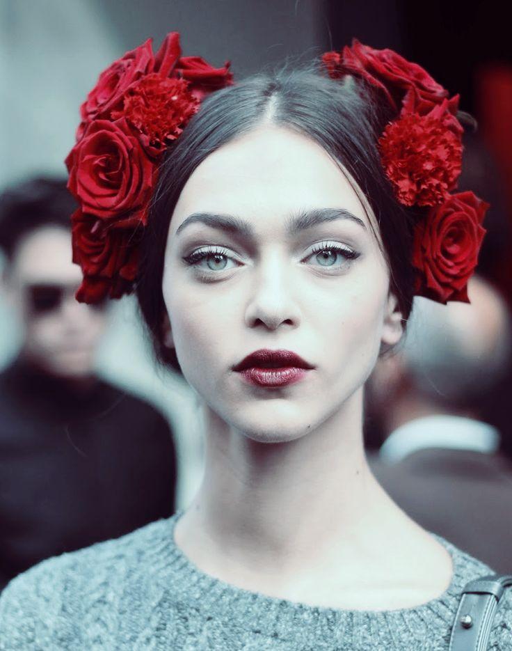 desire-vogue: Zhenya Katava after Dolce & Gabbana Spring 2015. Make up.
