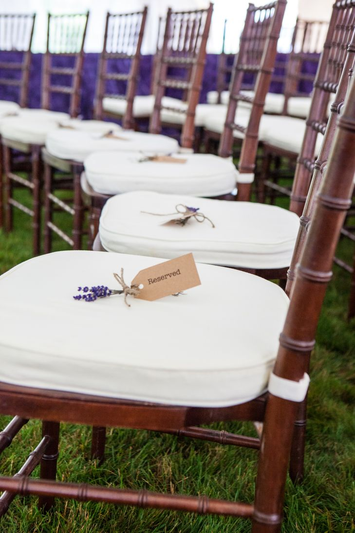 Wedding ceremony chair - Chiavari Ceremony Chairs With Lavender Reserved Seats Https Www Theknot Com