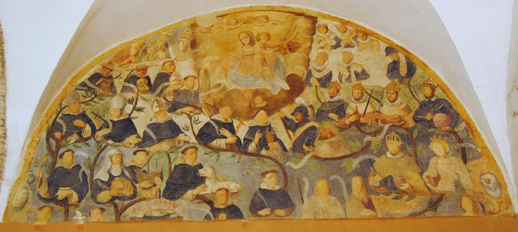Ciclo pittorico della Beata Colomba I dipinti sono stati realizzati nel XVII secolo da Vincenzo Manenti da Canemorto,  da Giovanni Altobelli da Collevecchio e da Giulio Bianchi da Monte San Giovanni. Albero genealogico della famiglia di San Domenico Guzman (la lunetta esula dal tema del ciclo della Beata Cololmba).