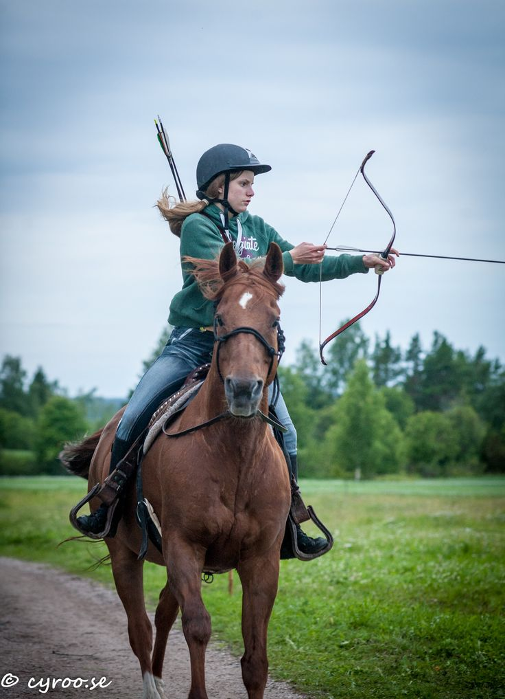 Barco and Katarina Kock in Korean style at Dalecarlian Mounted Archers Club Championships in horseback archery, Rättvik July 2015. Second place! Photo: cyroo.se