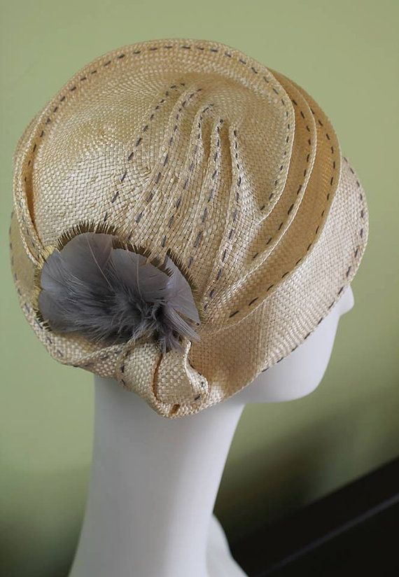 Natural Straw Hat with Gray Top-stitching & Gold-tipped Feathers incl Victorian Button OOAK