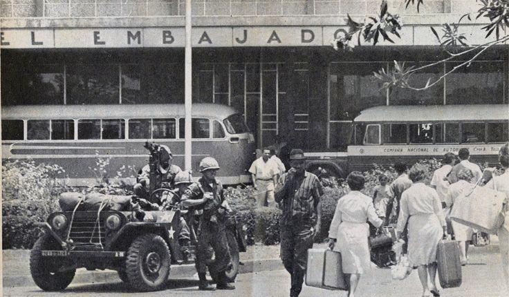 US. Marines at the Embajador Hotel helping evacuate American Citizen
