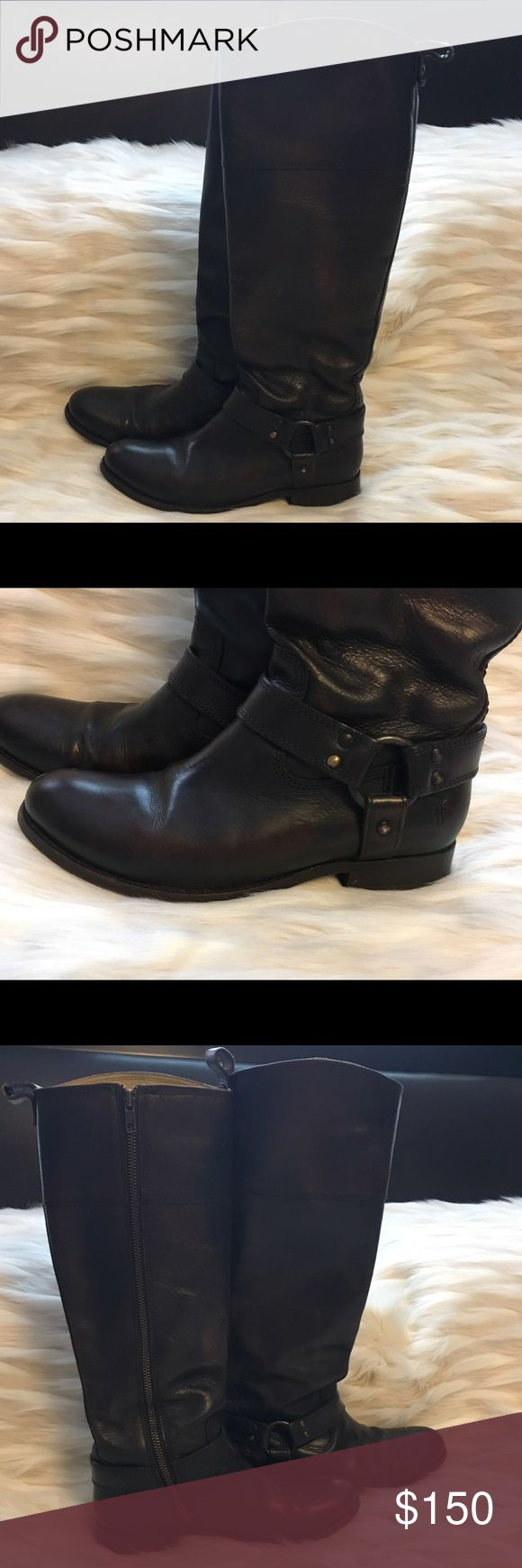 Frye Harness Boots! Original tall Frye boots. Great condition! Dark brown. Frye Shoes Combat & Moto Boots