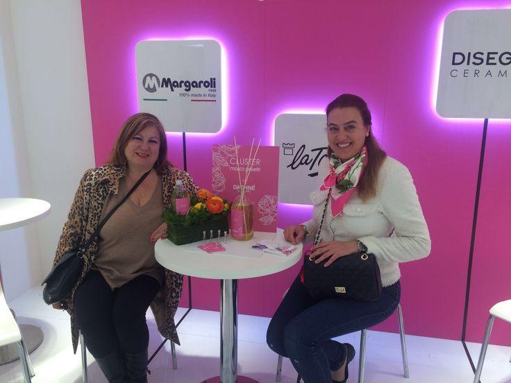 IN Barbara Bosotto con Rossella Bezzecchi per DAPHNÉ Sanremo #marcopoletticluster Salone del Mobile.Milano