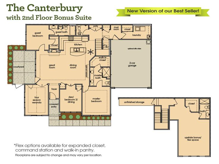 The canterbury with upstairs bonus suite home builders for Home builder com
