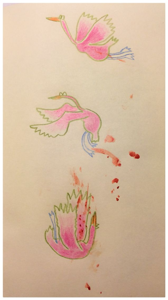 'First you live, and then..' Ida Exner. Color pencils and blood from my finger. 2015
