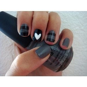 I love the grey and black, especially with the white heart on the middle finger!Heart Nails, Nails Art, Cute Nails, Nails Design, Nailsart, Shorts Nails, Black Nails, Gray Nails, Nails Polish