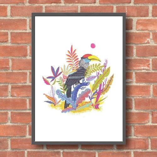 Llew Mejia - Great Hornbill, giclee print