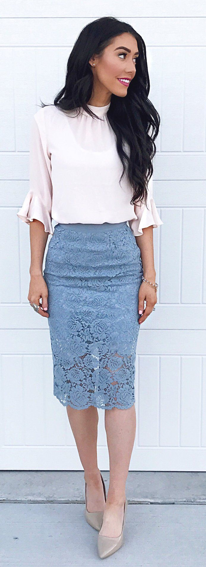 White Blouse & Grey Lace Skirt & Grey Pumps