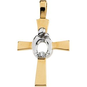 A 14k Yellow and White Gold Diamond Cross Pendant, showing a Mother with her child. $239.25