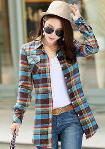 Hot Selling ! Casual Womens Flannel Shirts Full Sleeve Plaid Flannel Shirts for Women Best Shirts Online 4 Size 9 Colors