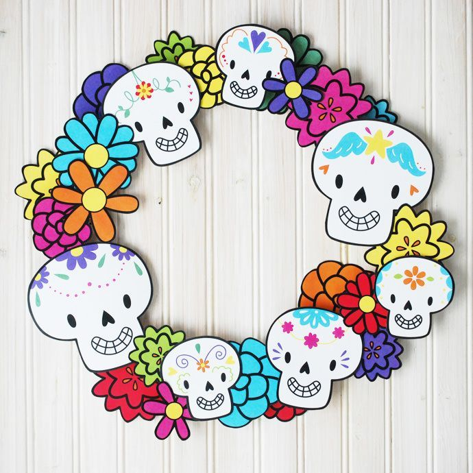 Print a super fun Dia de los Muertos wreath for halloween!