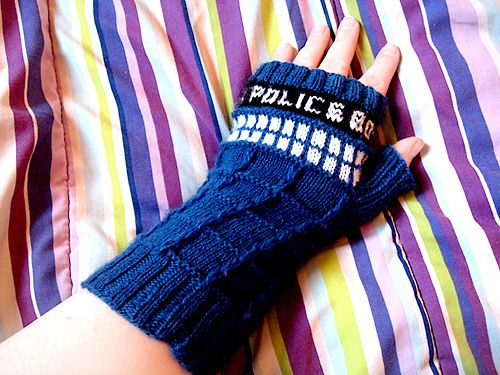Tardis fingerless gloves.   I need to learn to knit.