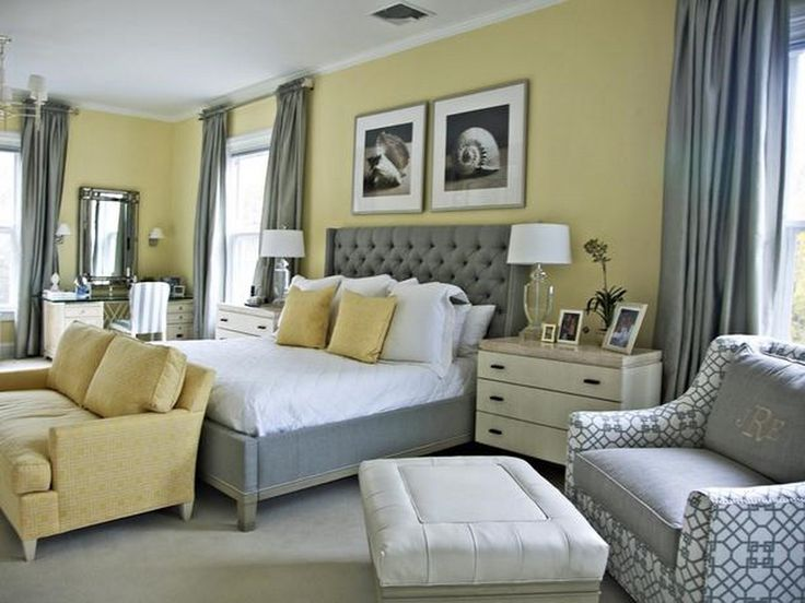 sophisticated, comfy - pale yellow walls white trim, pale grey carpet; medium greys, light yellows, white, winter-white in solids/prints around room; white bed linens