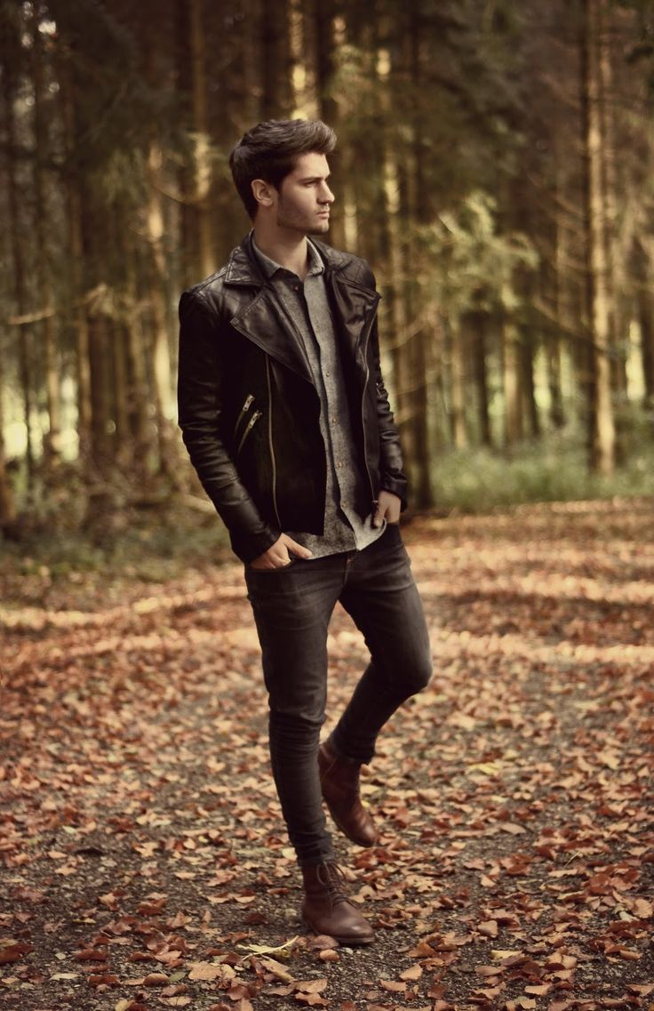 biker jacket by barney's, tweed shirt by a kind of guise, jeans by monkee genes, leather boots by h & m