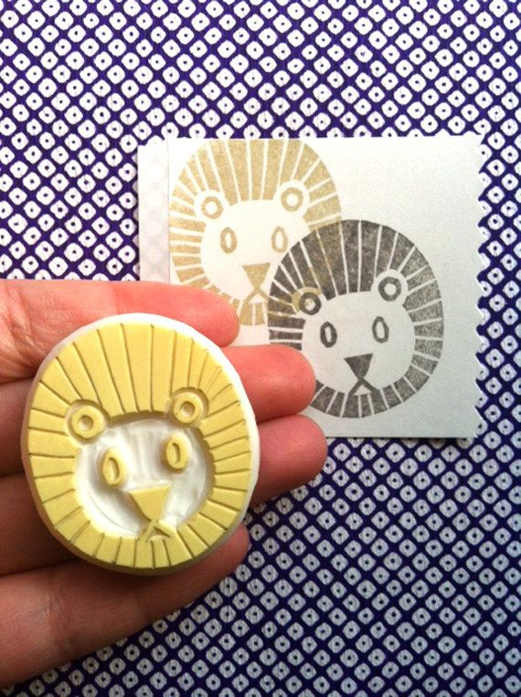 lion rubber stamp - hand carved rubber stamp - handmade rubber stamp - zoo animal stamp