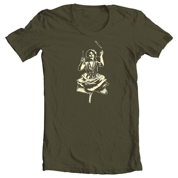 Rose Cut T-Shirt, Vintage,  Light Beige on Khaki, Silkscreen, Hand Printed…