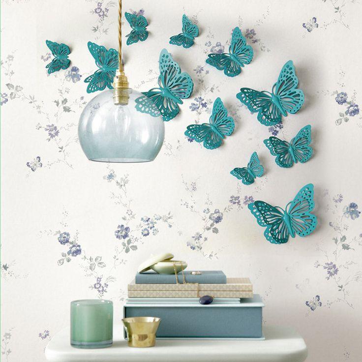 田园乡村立体蝴蝶墙面贴装饰创意 照片墙 电视沙发背景墙 壁饰-淘宝网
