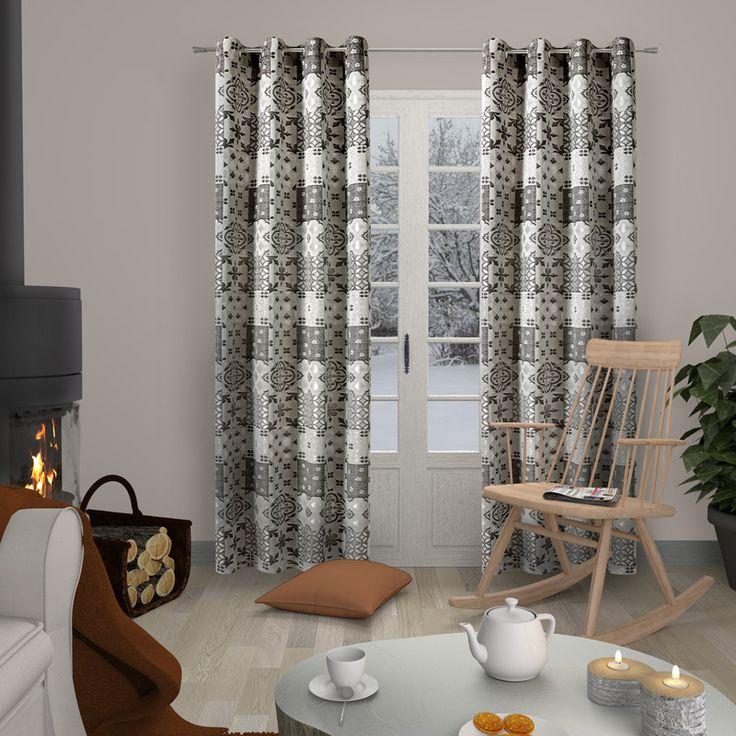 Rideau MOSAIC coloris gris 140 x 260 cm