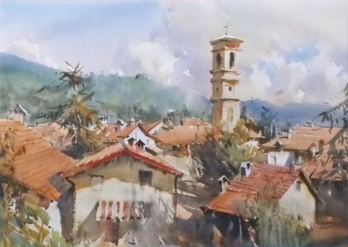 Ross Paterson (Australia) Garbagna-Northern Italy. watercolor. 56 x 76 cm.
