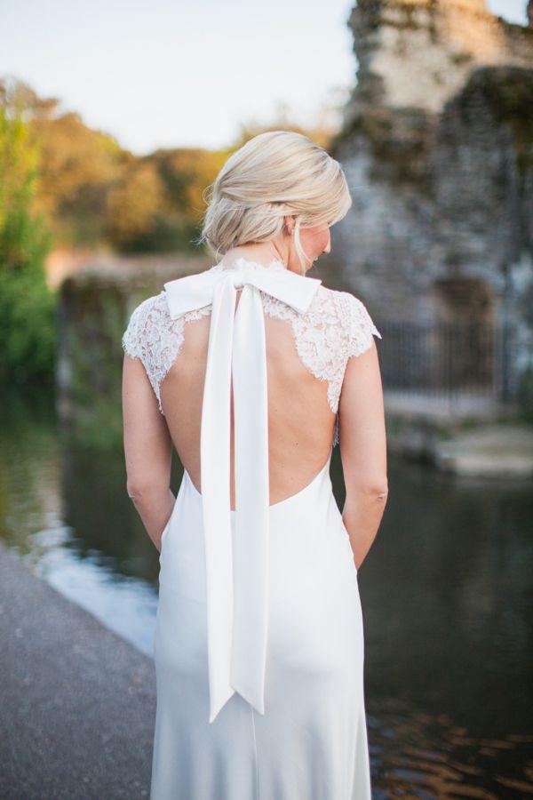 A Backless David Fielden Wedding Dress for a Pastel Colour Spring Time Celebration