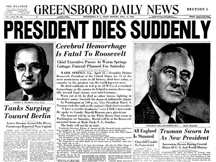 April 12, 1945: FDR dies. On this day in 1945, President Franklin Delano Roosevelt passes away after four momentous terms in office, leaving Vice President Harry S. Truman in charge of a country still fighting the Second World War and in possession of a weapon of unprecedented and terrifying power...