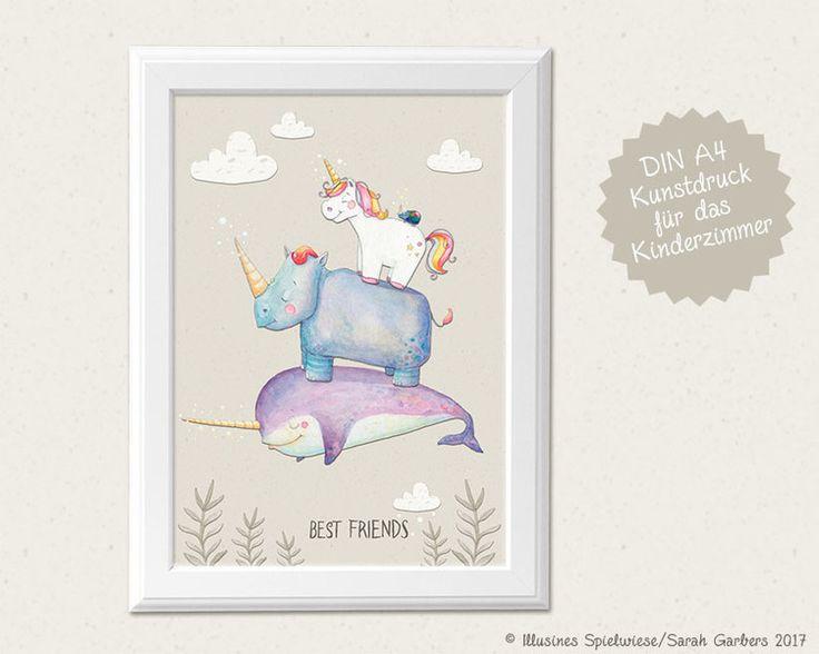 Bilder - Kinderzimmerbild | Best friends Einhorn & co  - ein Designerstück von Illusine bei DaWanda