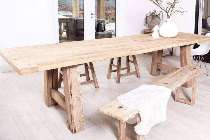 Robuuste oud houten eettafel van 1.80 tot 3m www.meneervanhout.nl