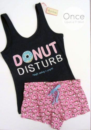 PRIMARK-Ladies-DONUT-DISTURB-Slogan-Vest-Shorts-Pyjama-Set-PJs