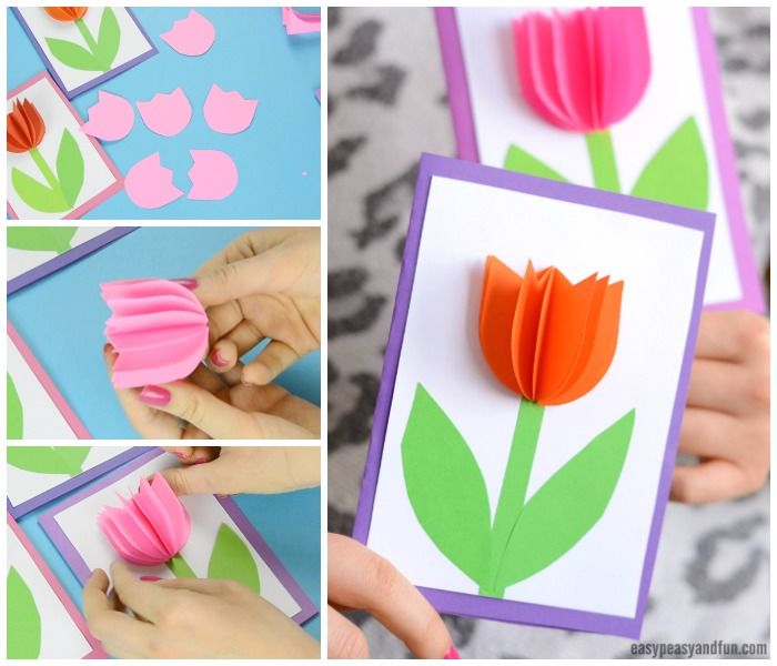 3d Paper Tulip Card Simple Mother S Day Card Idea Tulips Card Mothers Day Cards Craft Flower Crafts Kids