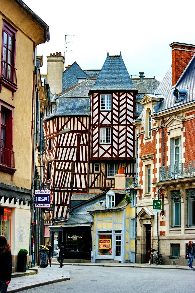 Rennes, France timbered houses (les maisons à colombages)   Rennes is the capital of the region of Brittany. Before leaving for France, head over to the Travel page of the Talk in French store for all the essentials you need: http://store.talkinfrench.com/product-category/travel/