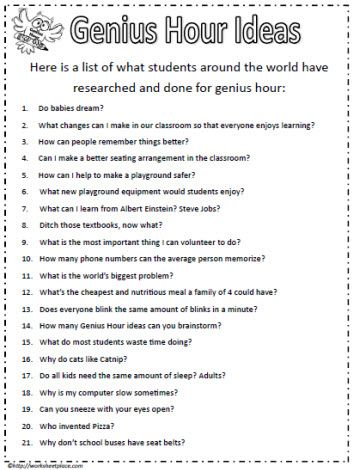 Ideas for Genius Hour                                                                                                                                                      More